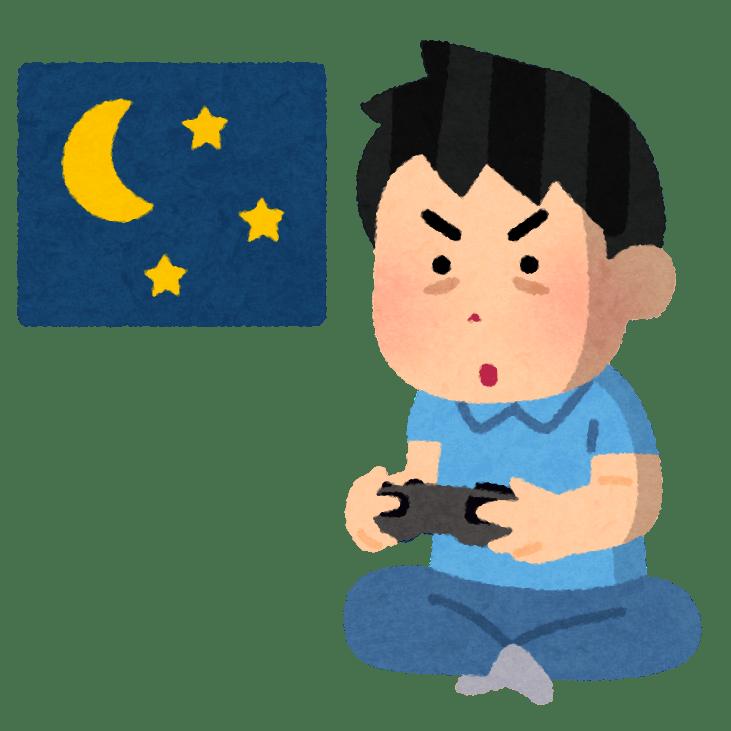 ゲームをしている男性のイラスト